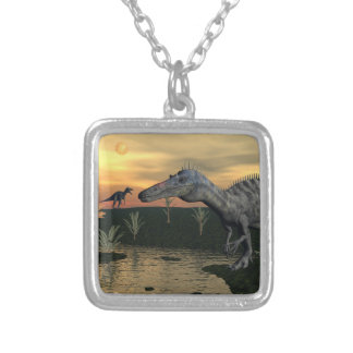 Suchomimus dinosaurs - 3D render Silver Plated Necklace