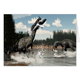 Suchomimus dinosaurs fishing fish and shark card