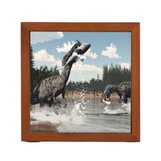 Suchomimus dinosaurs fishing fish and shark desk organizer