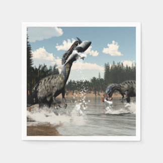 Suchomimus dinosaurs fishing fish and shark disposable napkins