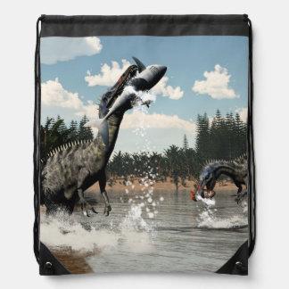 Suchomimus dinosaurs fishing fish and shark drawstring bag