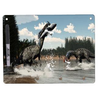 Suchomimus dinosaurs fishing fish and shark dry erase whiteboard