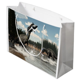 Suchomimus dinosaurs fishing fish and shark large gift bag