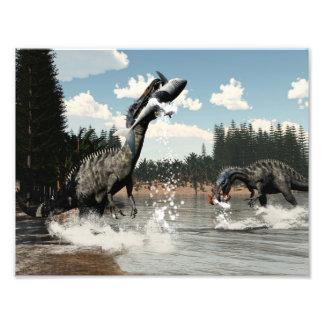 Suchomimus dinosaurs fishing fish and shark photo print