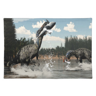 Suchomimus dinosaurs fishing fish and shark placemat