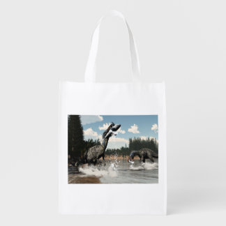 Suchomimus dinosaurs fishing fish and shark reusable grocery bag