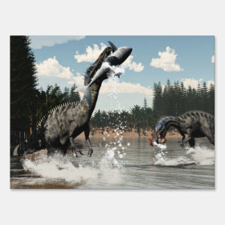 Suchomimus dinosaurs fishing fish and shark sign