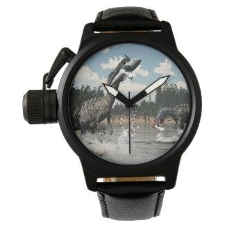 Suchomimus dinosaurs fishing fish and shark wristwatch