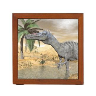 Suchomimus dinosaurs in desert - 3D render Desk Organizer