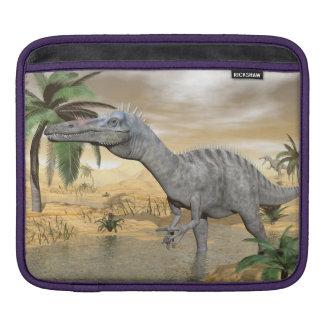 Suchomimus dinosaurs in desert - 3D render iPad Sleeve