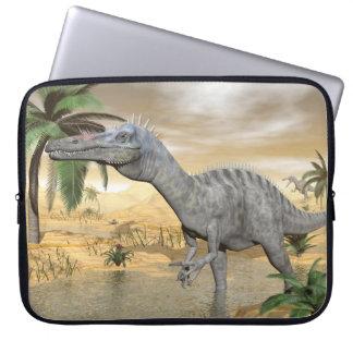 Suchomimus dinosaurs in desert - 3D render Laptop Sleeve
