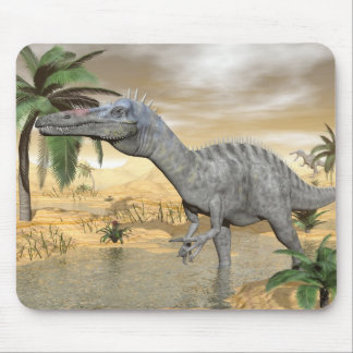 Suchomimus dinosaurs in desert - 3D render Mouse Pad