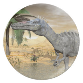 Suchomimus dinosaurs in desert - 3D render Plate