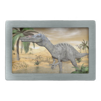 Suchomimus dinosaurs in desert - 3D render Rectangular Belt Buckle