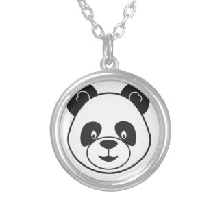 Sucks of black and white panda silver plated necklace