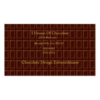 Sucrerie de barre de chocolat cartes de visite personnelles