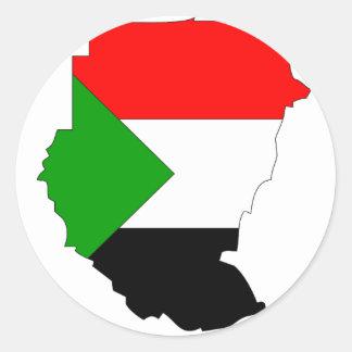 Sudan flag map round sticker
