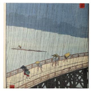 Sudden shower over Shin-Ōhashi bridge and Atake Tile