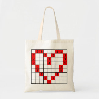 sudoku heart tote bag