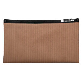 Sueded Makeup Bag with Brown Design
