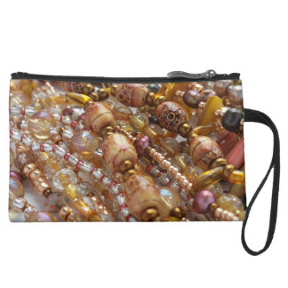 Sueded Mini Clutch- Natural Earthtone, Beads Print Suede Wristlet