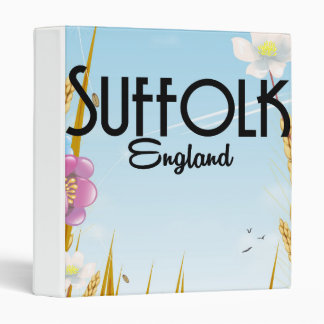 Suffolk England farmyard cartoon travel poster Vinyl Binders