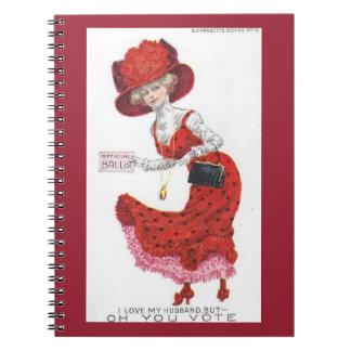 Suffragette Votes for Women Postcard Art Paper Spiral Notebooks