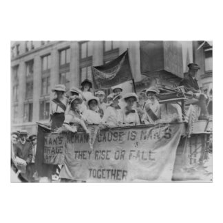 Suffragettes Riding a Float Poster