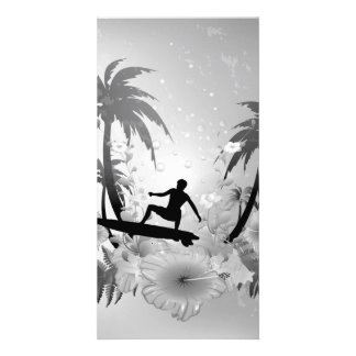 Sufing, surfboarder with palm and fowers personalized photo card
