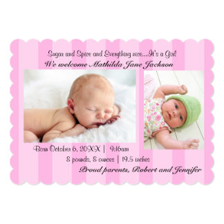 Sugar and Spice Baby Girl Birth Announcement