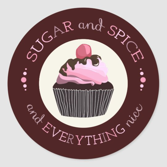 Sugar and Spice Baby Shower Favour Sticker