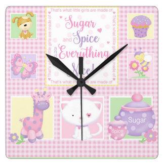 Sugar and Spice Baby Wall Clock