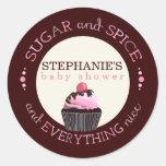 Sugar and Spice Cupcake Baby Shower Favor Sticker