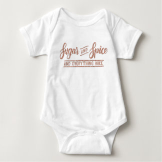 Sugar and Spice Rose Gold Calligraphy one piece Baby Bodysuit
