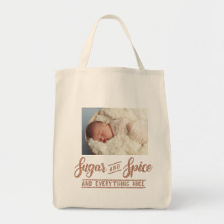 Sugar and Spice Rose Gold Calligraphy  Photo Totle Tote Bag
