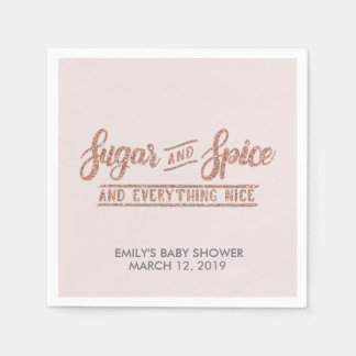 Sugar and Spice Rose Gold Glitter Baby Shower Paper Napkin