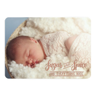 Sugar and Spice Rose Gold Photo Birth Announcement