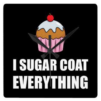 Sugar Coat Everything Cupcake Square Wall Clock