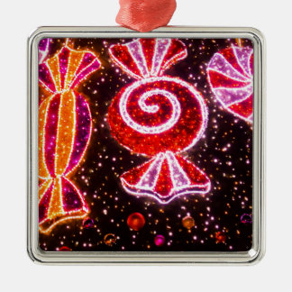 Sugar confections fireworks shaped Silver-Colored square ornament