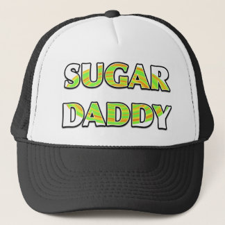"""""""SUGAR DADDY"""" with Green Candy Whirl Design Trucker Hat"""