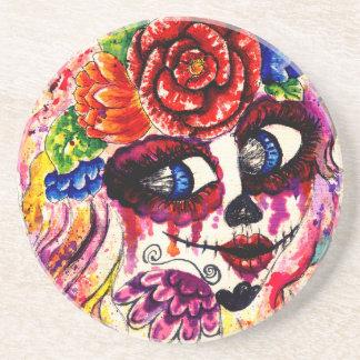 Sugar Girl in Flower Crown Beverage Coasters