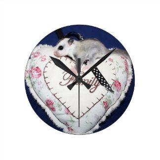 Sugar Glider Loves Family Round Clock