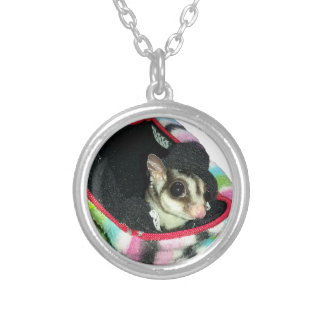 Sugar Glider Wearing a Hat Silver Plated Necklace