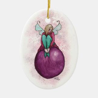Sugar Plum Faery by Mary Layton Ceramic Oval Ornament