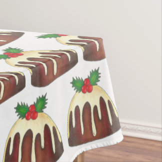 Sugar Plum Pudding Christmas Holiday Holly Leaf Tablecloth