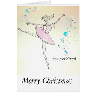 Sugar-Plum Whippet Christmas Card