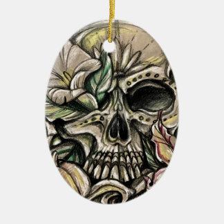 Sugar skull and lilies ceramic ornament