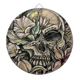 Sugar skull and lilies dartboard
