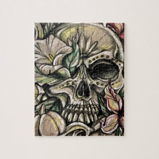 Sugar skull and lilies jigsaw puzzle