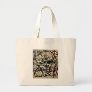 Sugar skull and lilies large tote bag